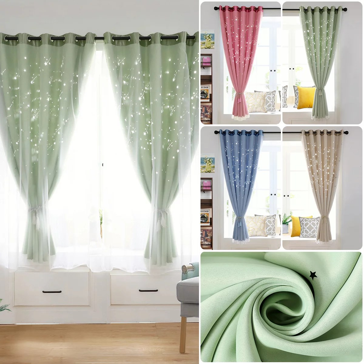 38 59 78 x 78 star eyelet thermal blackout curtains for kids room ring top curtain mesh walmart com