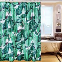 Shower Curtain Tropical Plants Green Leaf Curtain Liner ...