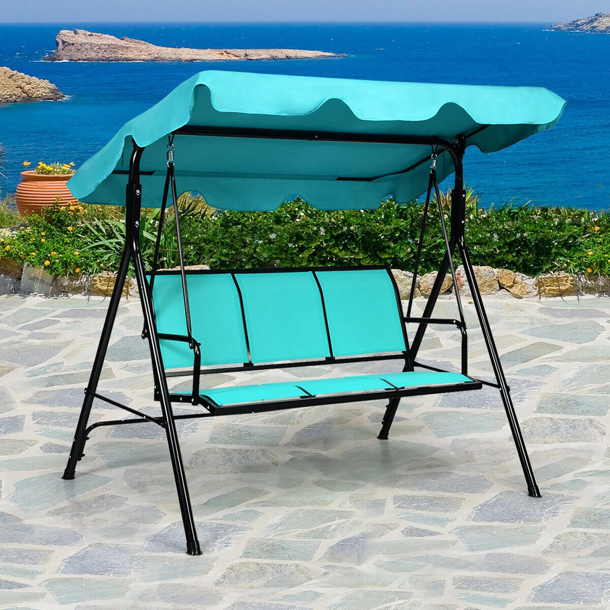gymax outdoor swing canopy patio swing chair 3 person canopy hammock blue