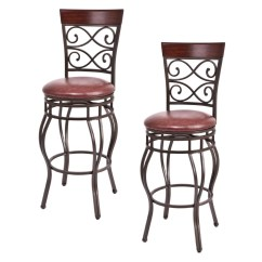 Chair Stool Retro Office High Costway Set Of 2 Vintage Bar Stools Swivel Padded Seat Bistro Dining Kitchen Pub Walmart Com