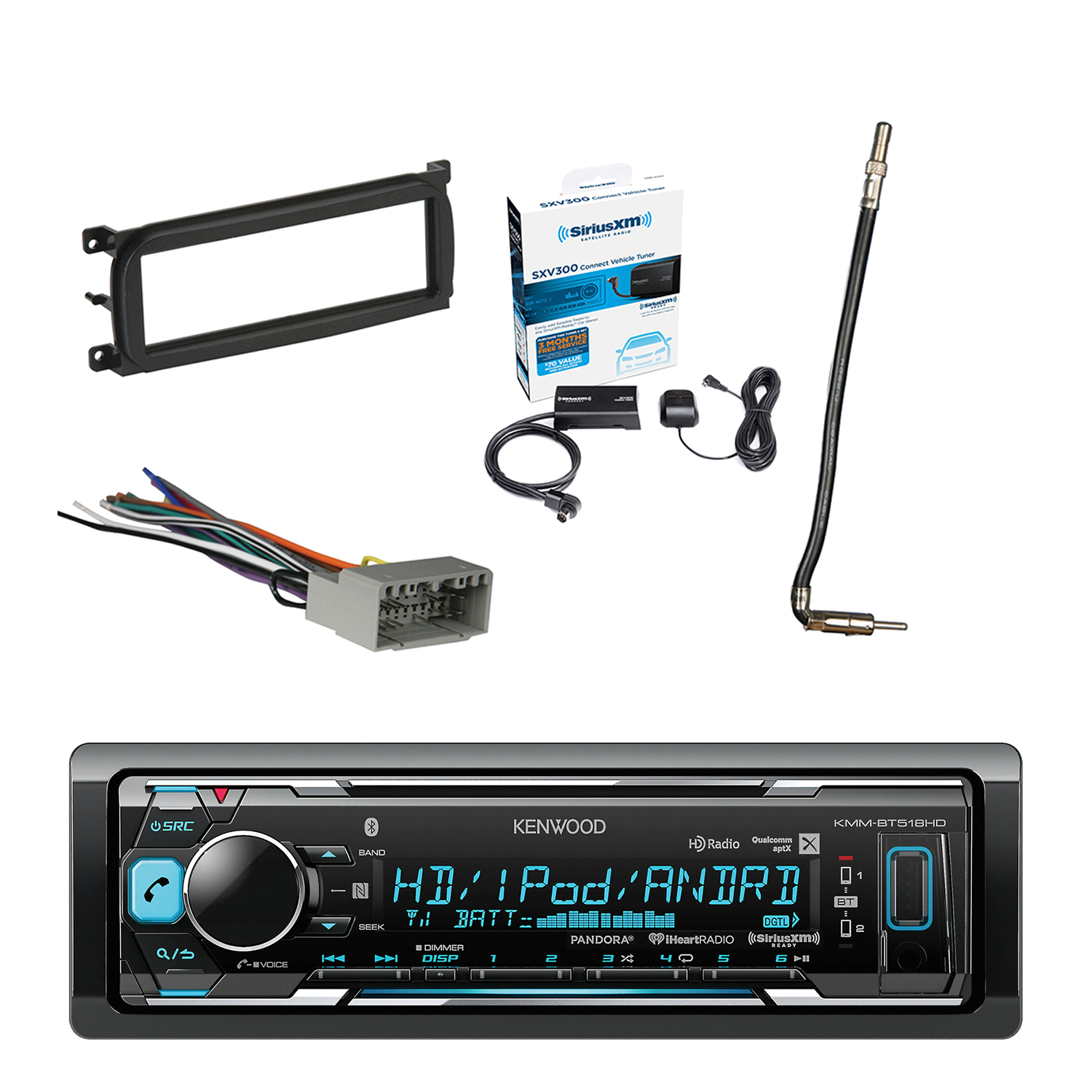hight resolution of kenwood in dash stereo receiver bluetooth with sirius radio tuner metra dash kit for chry dodge jeep 98 up metra chrysler 2002 antenna adapter cable