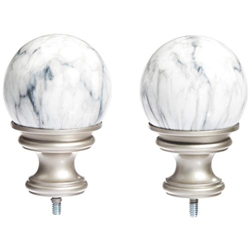 basics white marble ball curtain rod finials set of two nickel