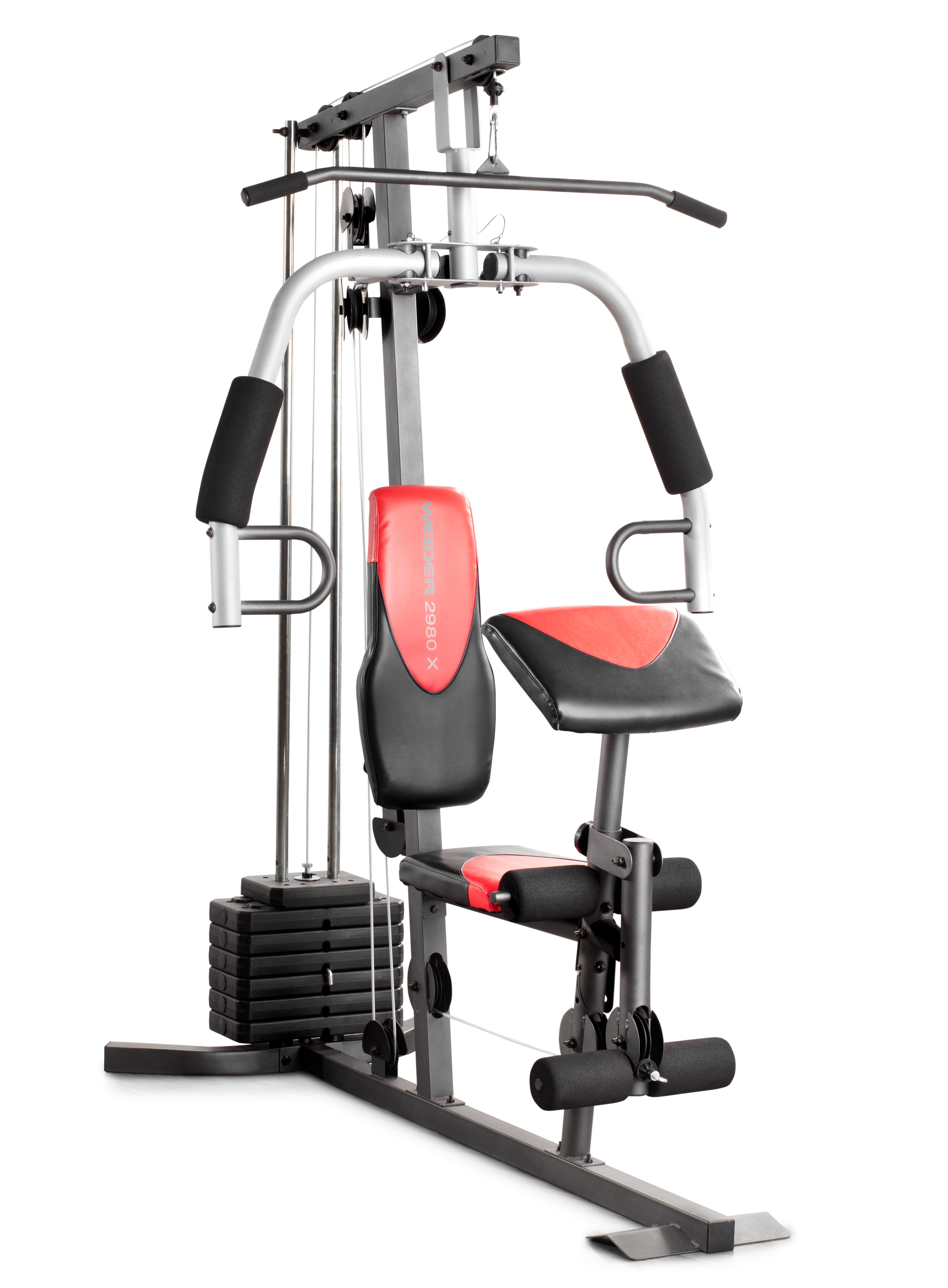 resistance chair exercise system reviews plush padded moon saucer in red weider 2980 home gym with 214 lbs of walmart com