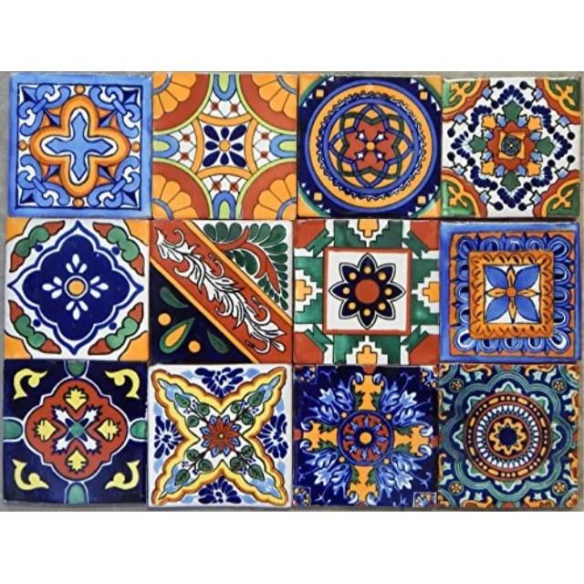 40 mexican talavera tiles hand painted 6x6 stairs backsplash 10 designs