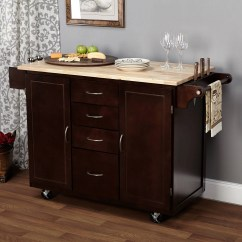 Kitchen Island Carts Traditional Cabinets Pictures Ehemco Cart Natural Butcher Block Bamboo Top With White Base Walmart Com