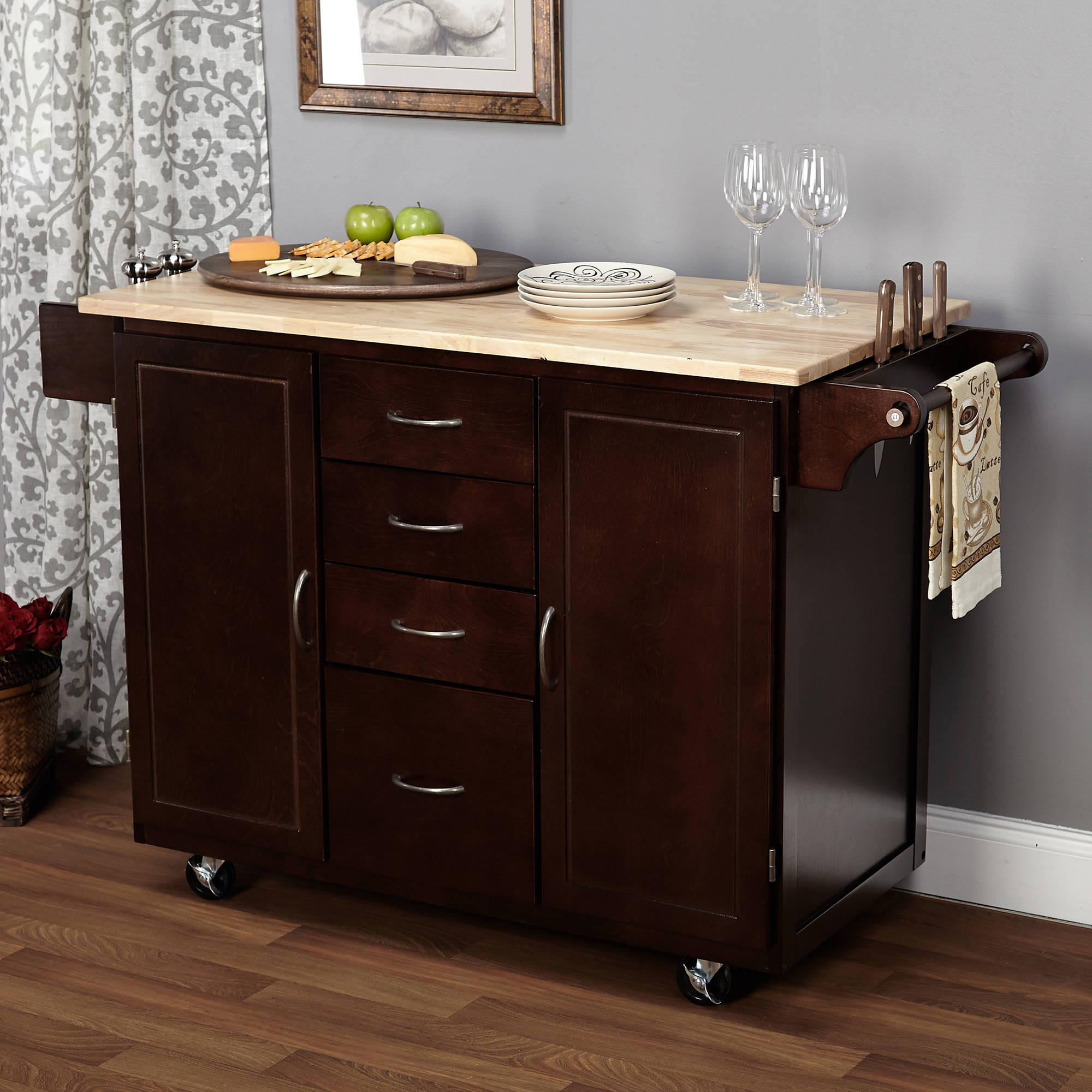 kitchen island carts aid ice maker ehemco cart natural butcher block bamboo top with white base walmart com