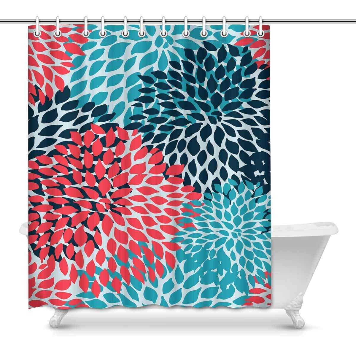 pop dahlia pinnata flower teal coral turquoise bathroom decor shower curtain set 60x72 inch