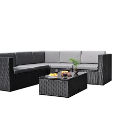 Rattan Garden Corner Sofa Sets How To Make Your Own Slipcover For Sectional Sky Patio 4 Pieces Outdoor Furniture Complete Wicker Couch Set Black B1035 Bl Walmart Com