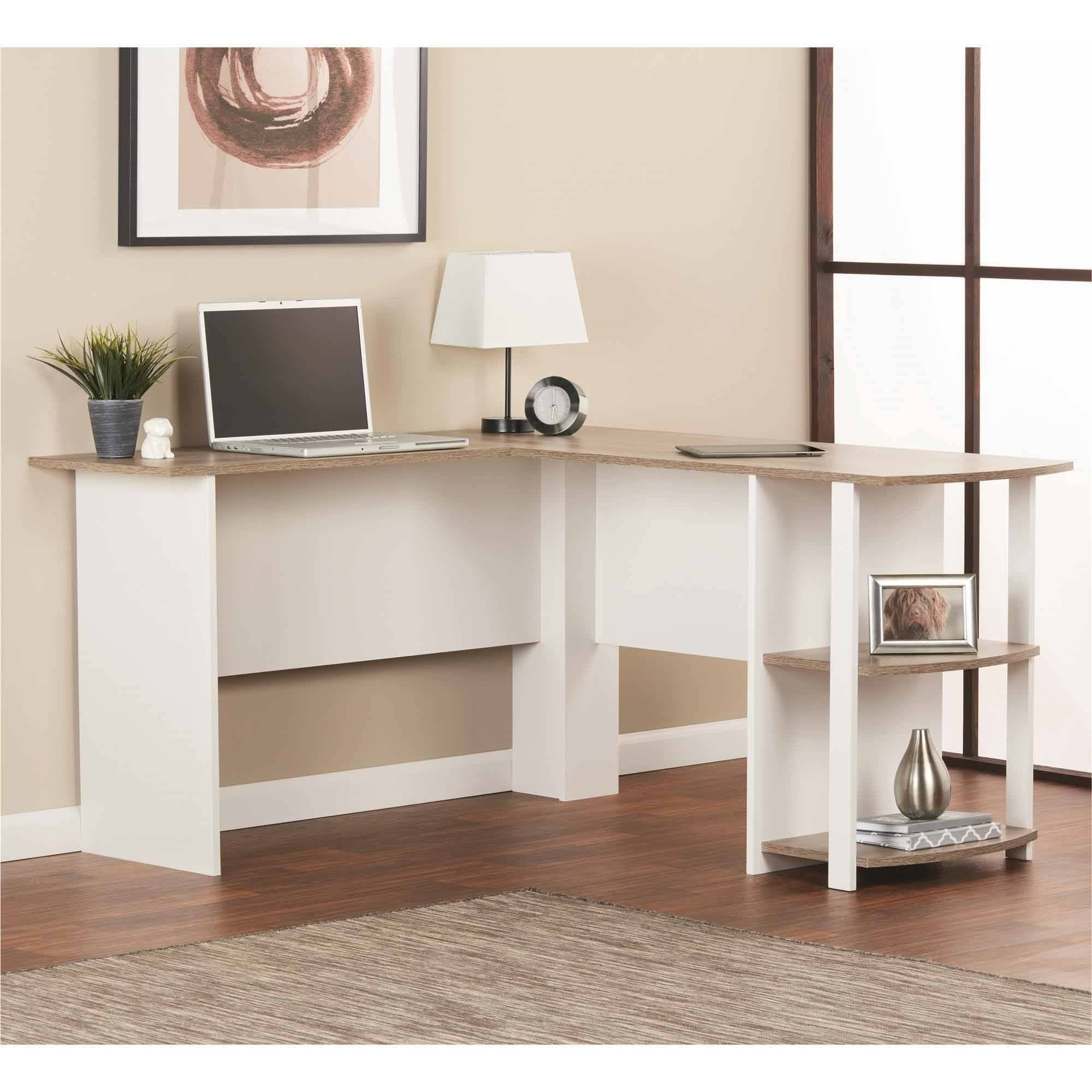 NEW LShaped Computer Desk with Side Storage Shelf Student