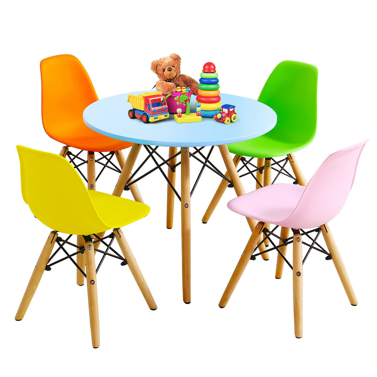 Gymax 5 Pc Kids Colorful Round Table Chair Set W 4 Armless Chairs Walmart Canada