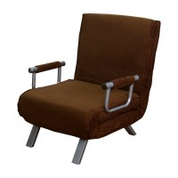 HomCom 26 Convertible Single Sleeper Chair Bed - Brown ...