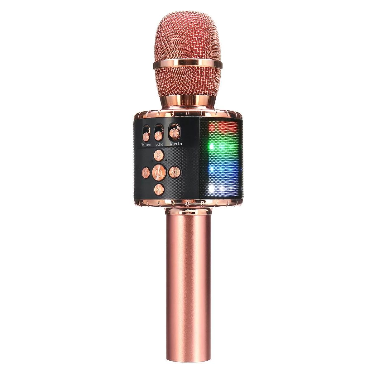 karaoke Microphone,4 In 1 Wireless LED h Karaoke Microphone with Light ,Mini USB Speaker for Home KTV - Walmart.com
