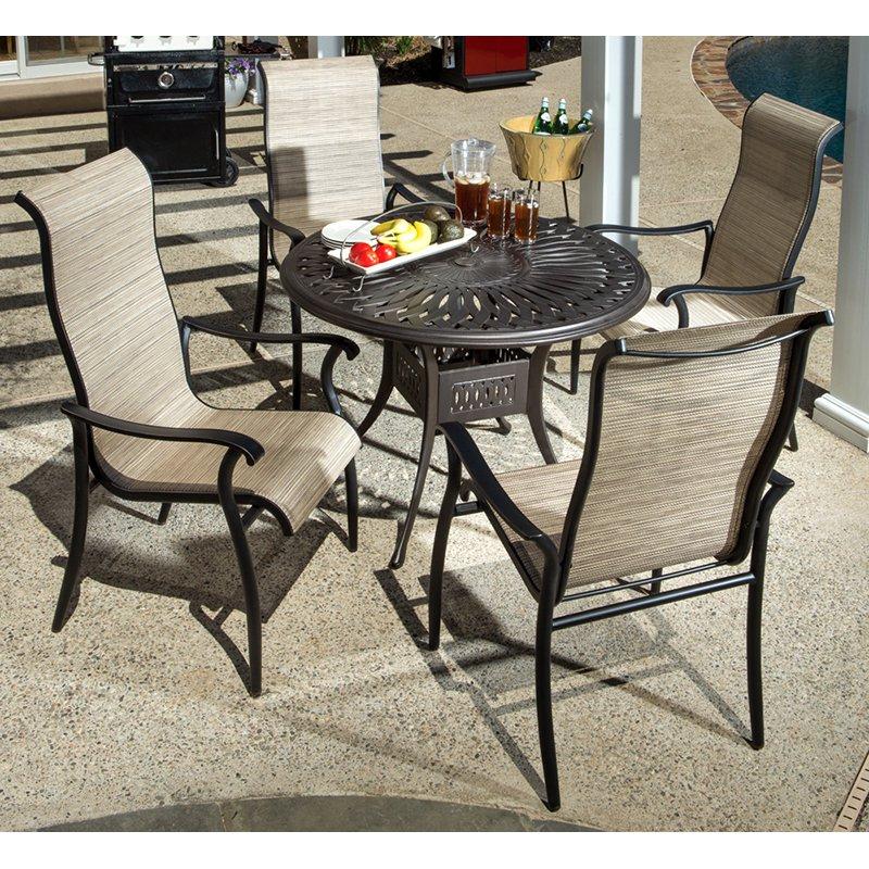 alfresco home charter aluminum 5 piece round patio dining set
