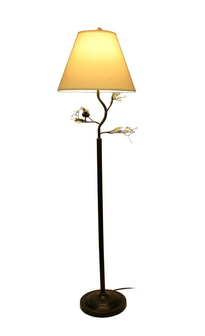 Birds and Berries twig tree Branch Accent Metal Floor Lamp
