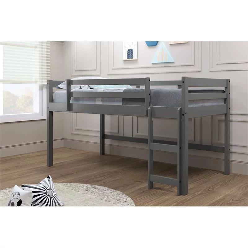 gray wood mini loft bed
