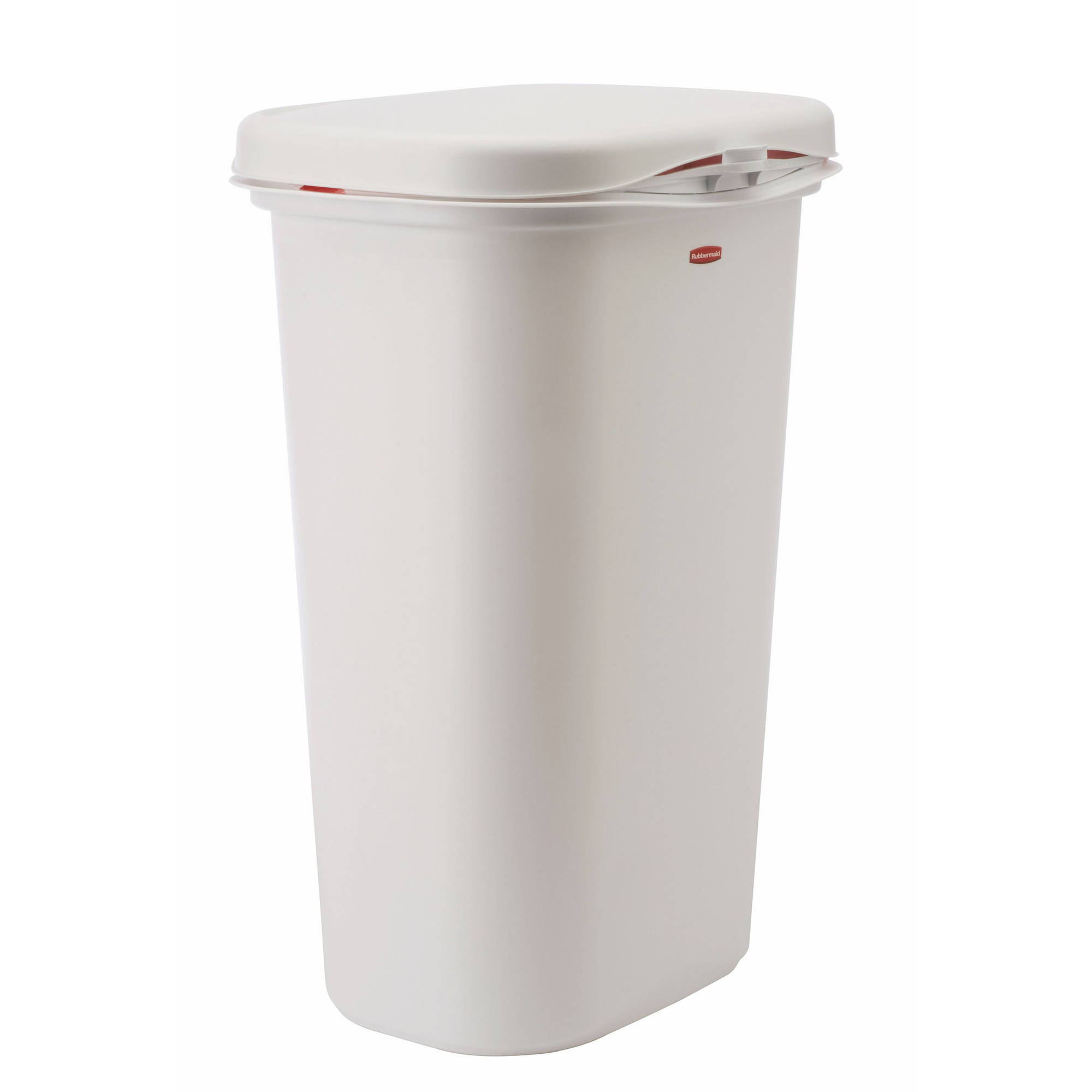 white kitchen trash can outdoor cabinets stainless steel rubbermaid linerlock spring top 13 gal