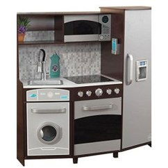 Kid Craft Kitchen White Corian Countertops Kidkraft Large Play With Realistic Lights And Sounds Espresso Silver Walmart Com