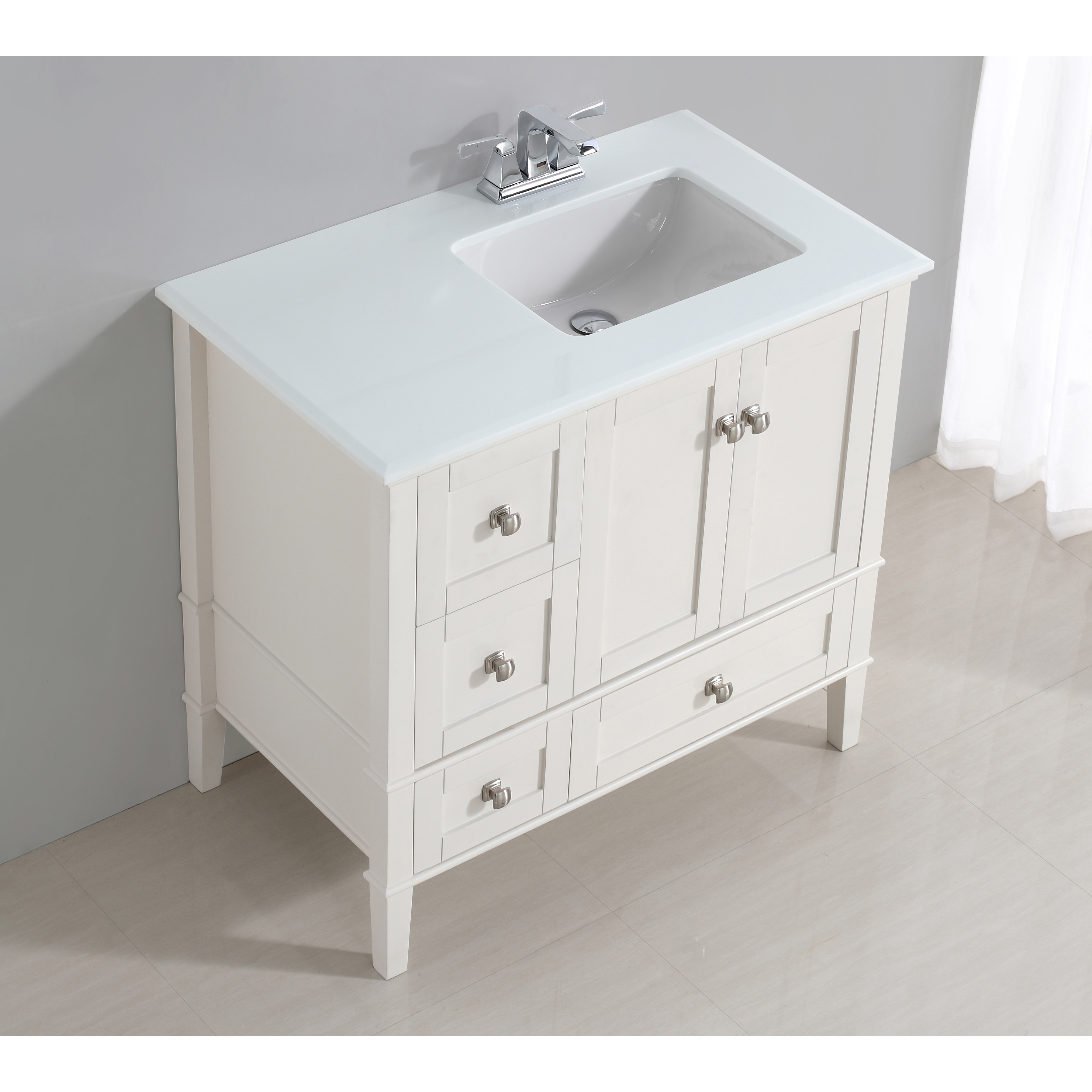 wyndenhall windham white 36 inch right offset bath vanity set with two doors and white quartz marble top