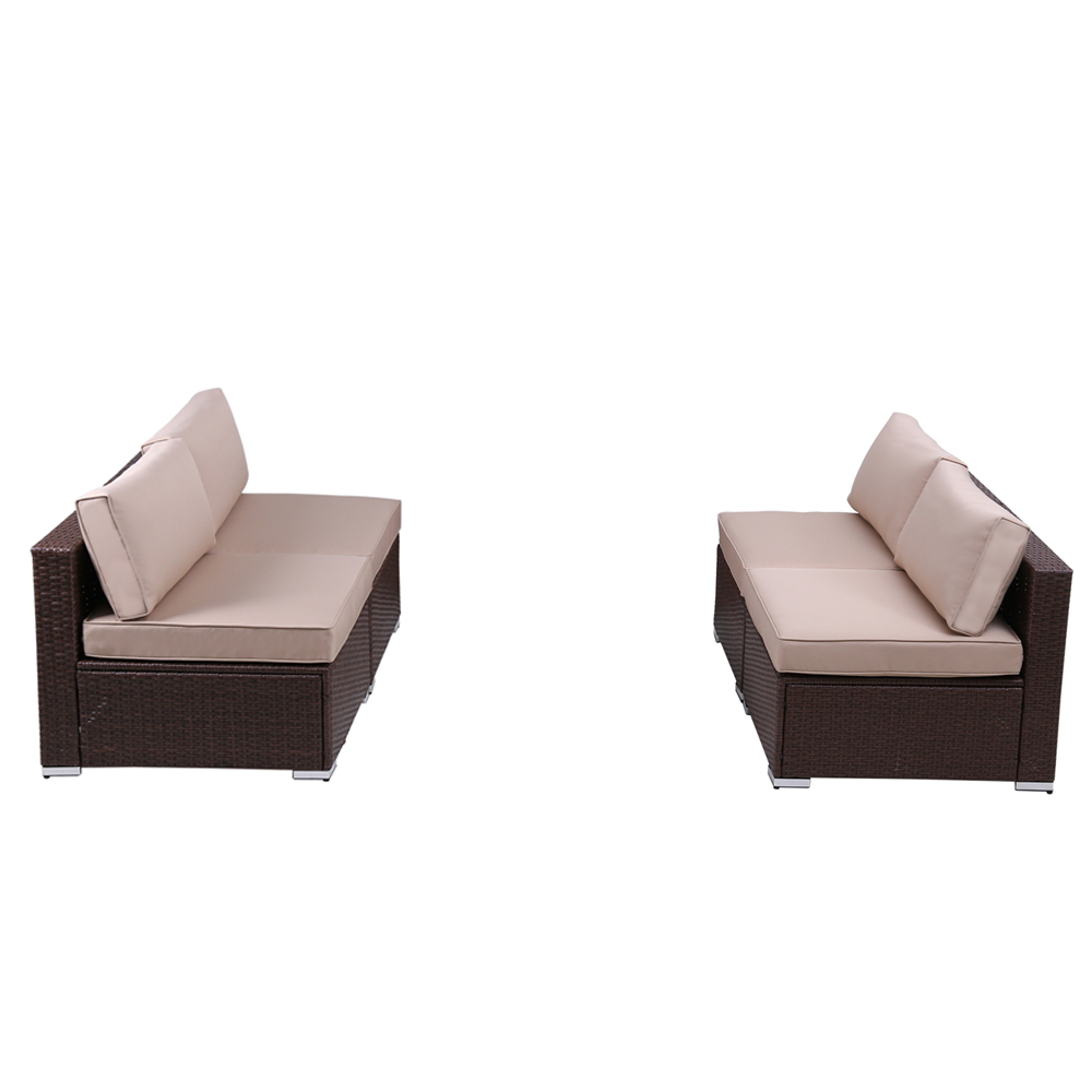 4 piece patio wicker loveseat outdoor sectional armless sofa additional furniture set with removable beige cushions brown