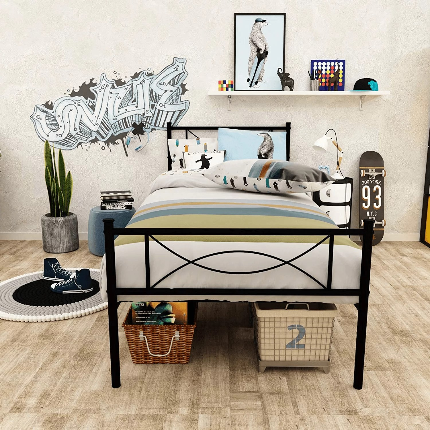 easy assembly 12 7inch high metal platform bed frame with bowknot headboards size twin