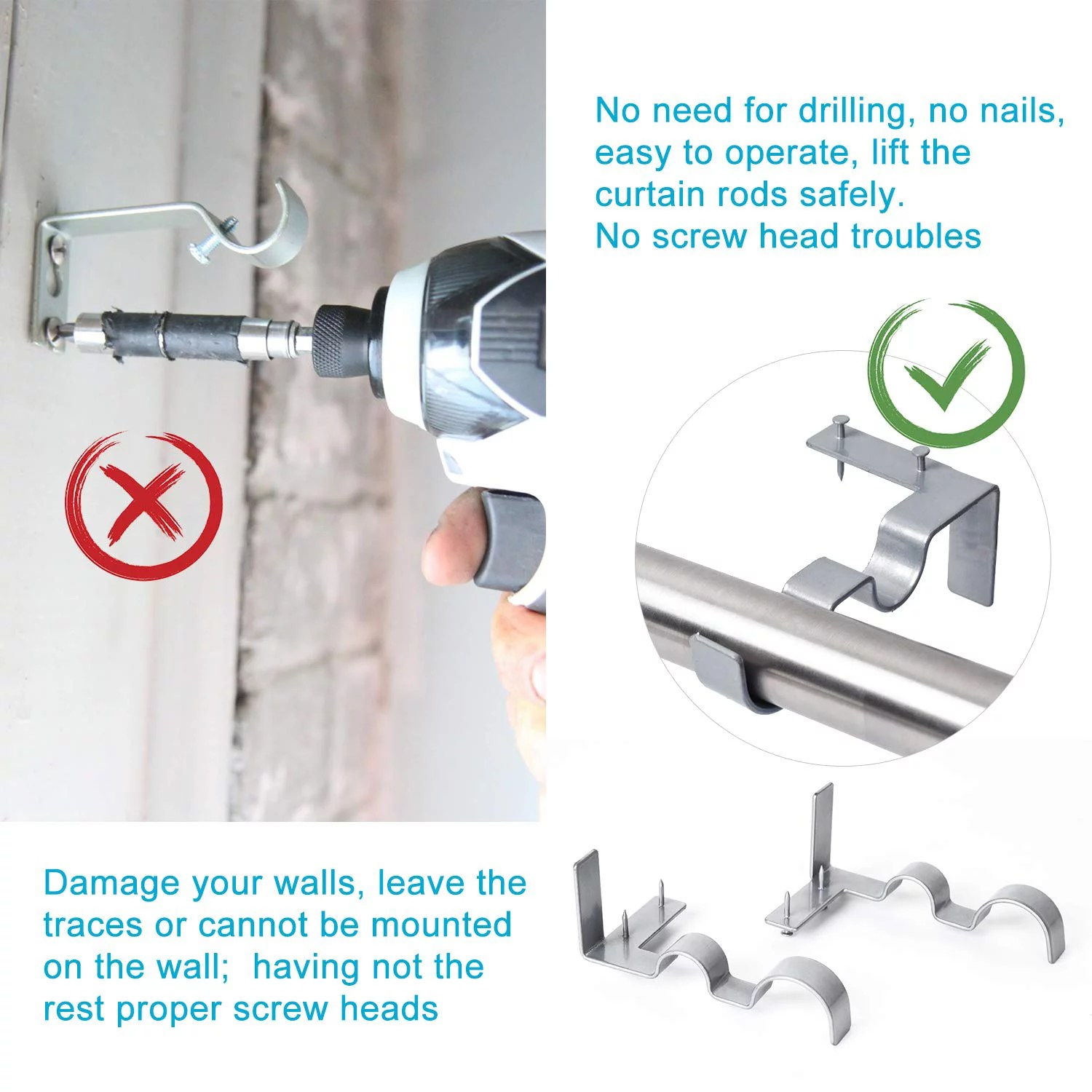2 pairs curtain rod brackets set double curtain rod holders easy no drilling tap right into window frame for rods window bedroom decoration