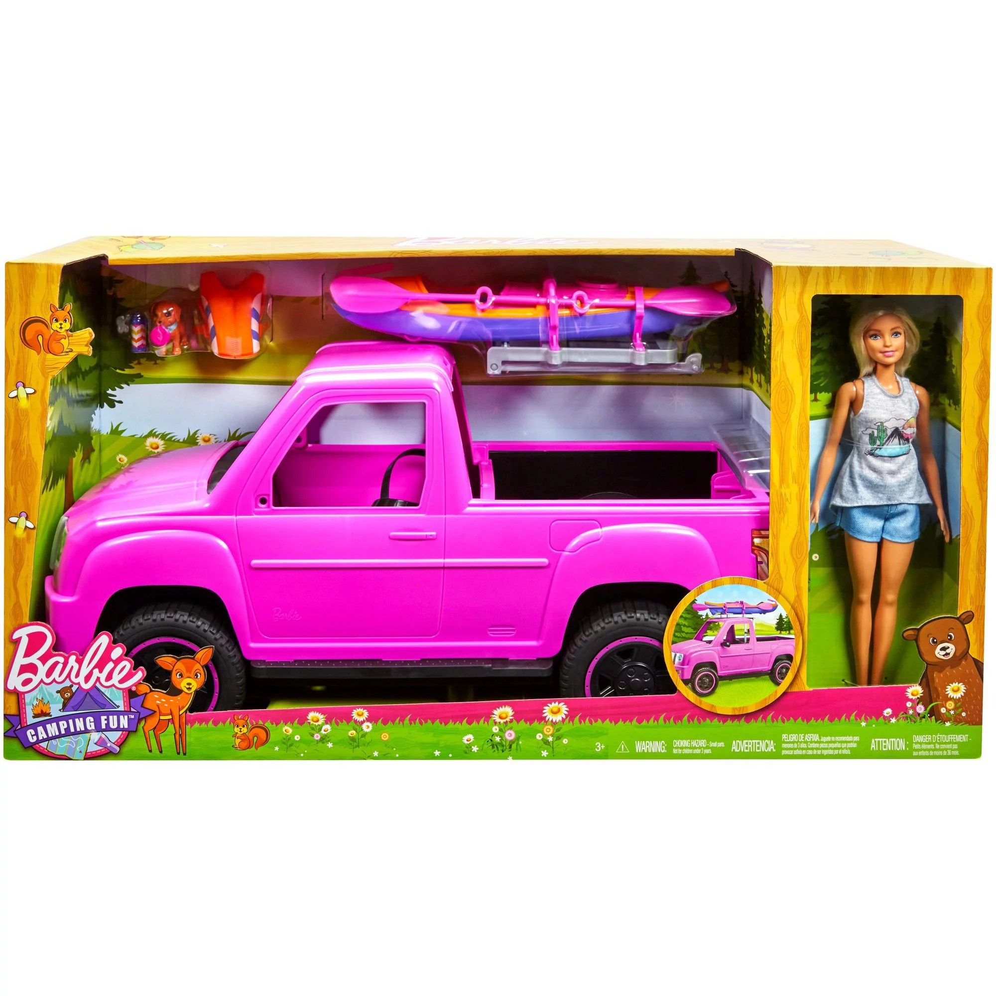 hight resolution of barbie camping fun doll pink truck and sea kayak adventure playset walmart com