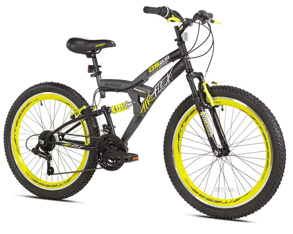 medium resolution of avigo 24 air flex dual suspension men s bike grey for 4 6 height sizes and up walmart com