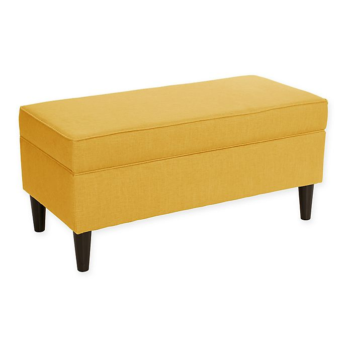 skyline furniture merion storage bench in yellow