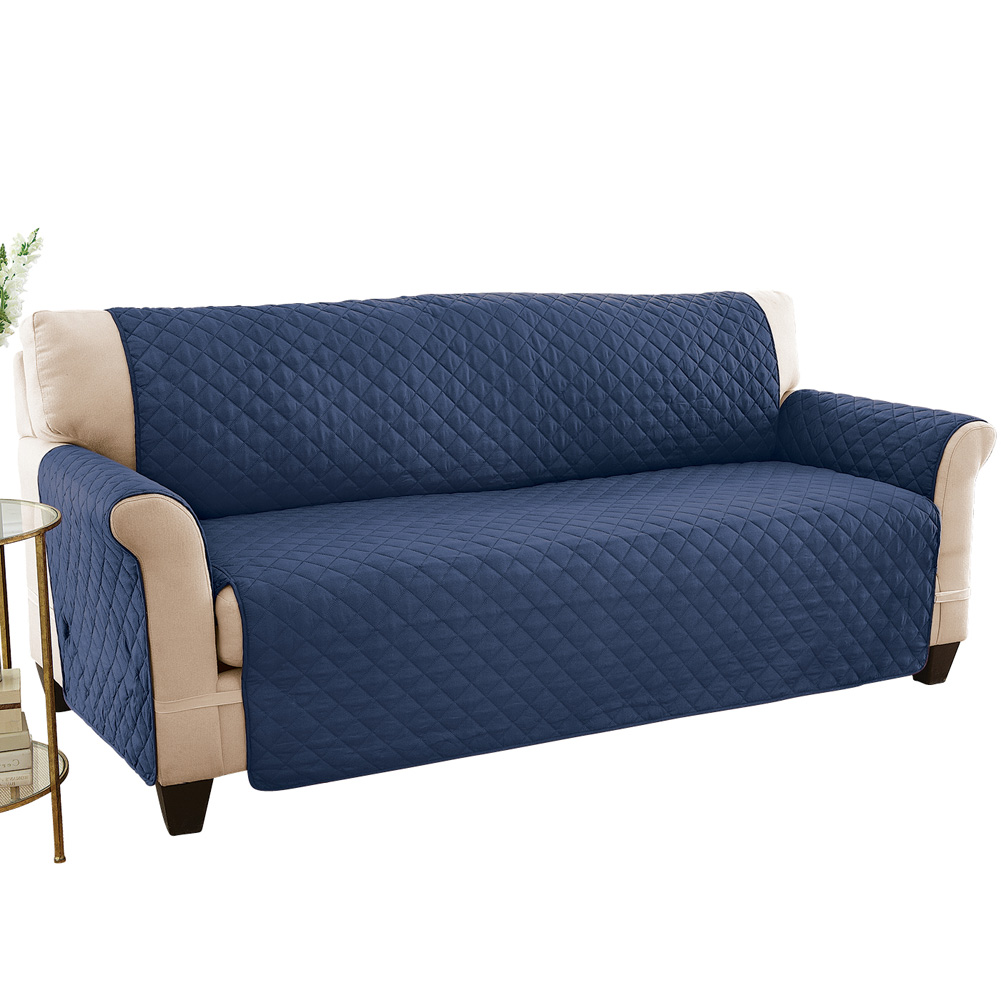 collections etc reversible quilted sofa cover spill resistant with ties covers seat bottom seat back and 2 seat arms sofa navy blue