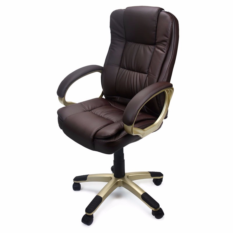 revolving chair bd price wheelchair scientist deluxe high back office pu leather executive brown walmart com