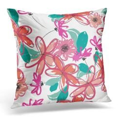 Pink Throw Pillows For Sofa Disposal Rotherham Arhome Green Floral Abstract Brushstroke Flowers Pattern