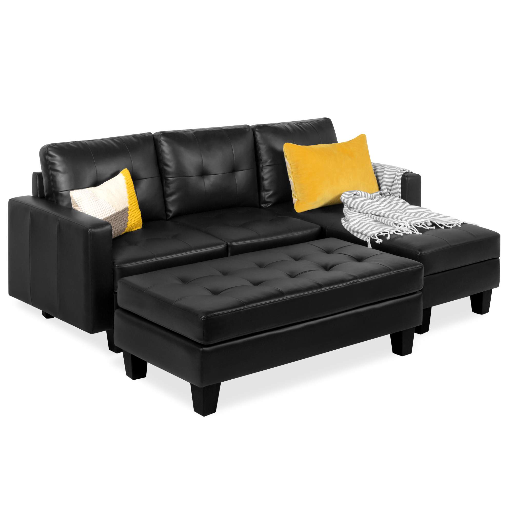 best choice products 3 seat l shape tufted faux leather sectional sofa couch set w chaise lounge ottoman bench black walmart com