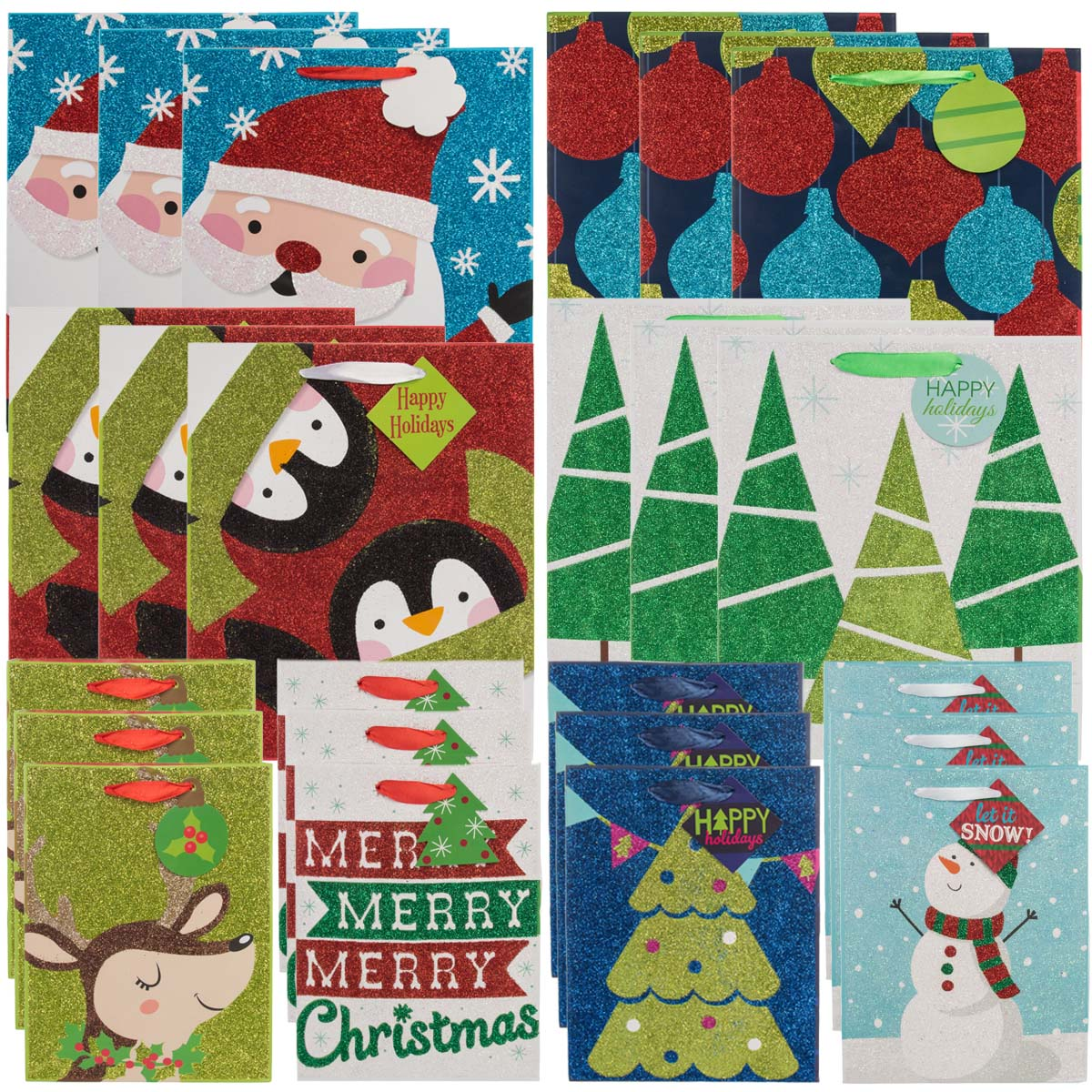 Paper Craft 24 Pack Assorted Christmas Gift Bags Set