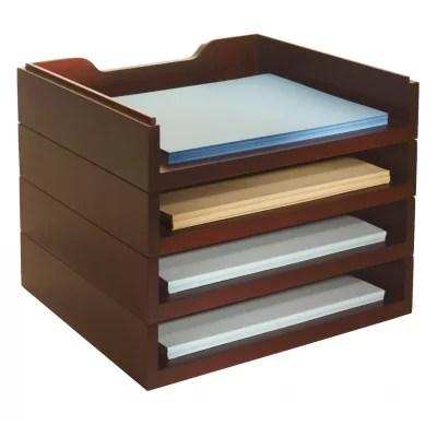 Bindertek Stacking Wood Desk Organizers 4 Letter Tray Kit