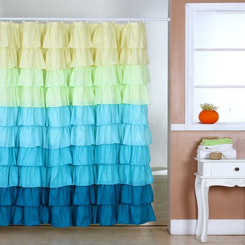 Somerset Spring Ruffle Home Shower Curtain With Buttonholes