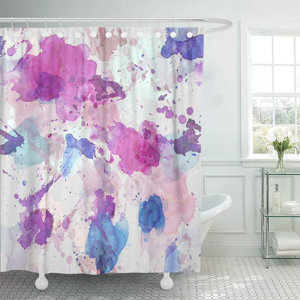 ksadk colorful abstract of blue rose purple watercolor stains on grey pink artistic blot shower curtain 66x72 inch