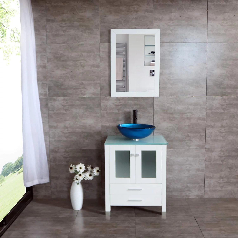wonline 24 glass vessel sink bathroom vanity cabinet solid wood modern design w mirror