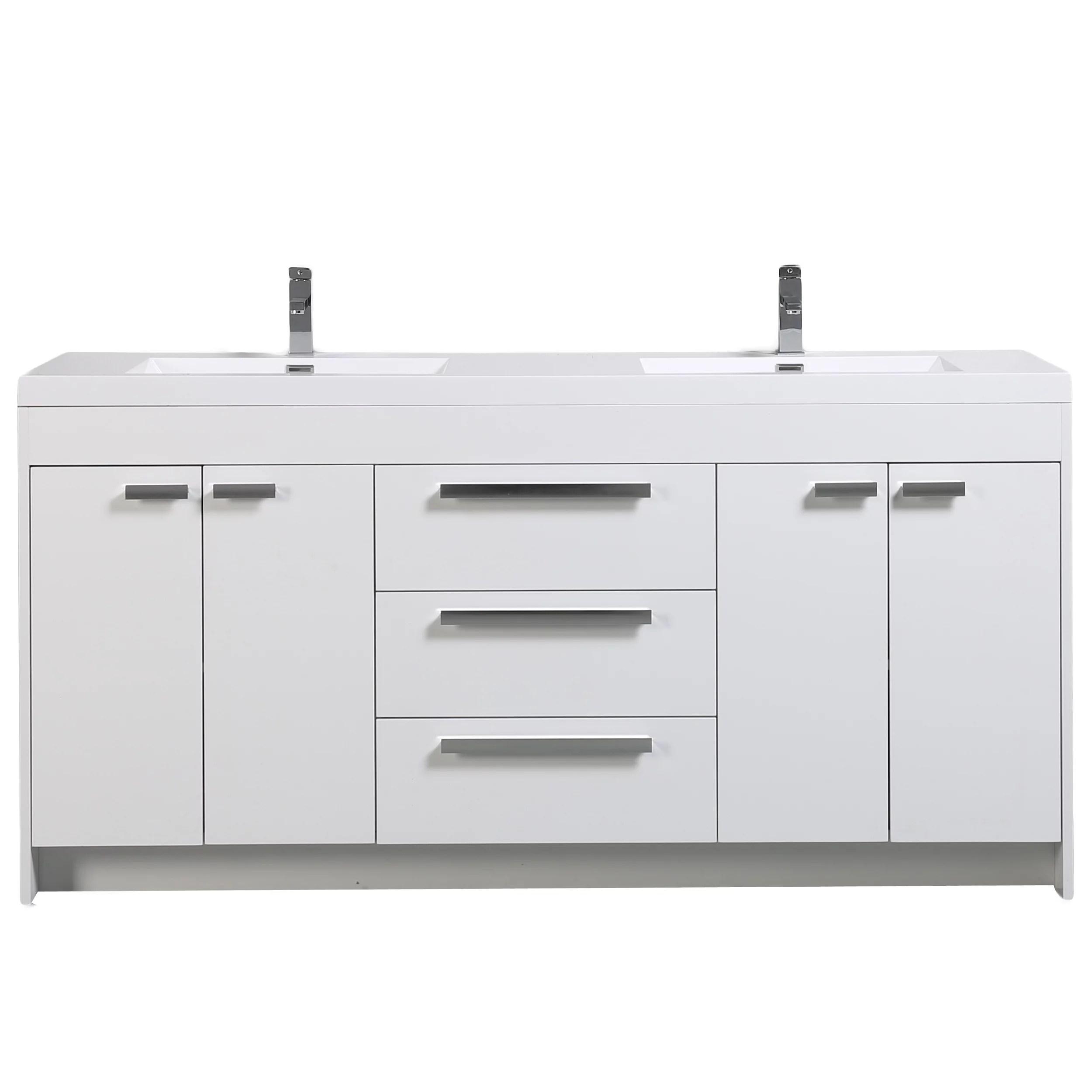 eviva lugano 72 white modern bathroom vanity with white integrated acrylic double sink walmart com