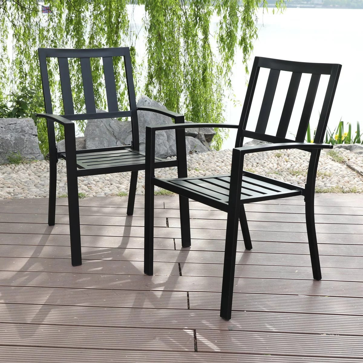mf studio metal patio outdoor dining chairs set of 2 stackable bistro deck chairs for garden backyard lawn support 300lb black