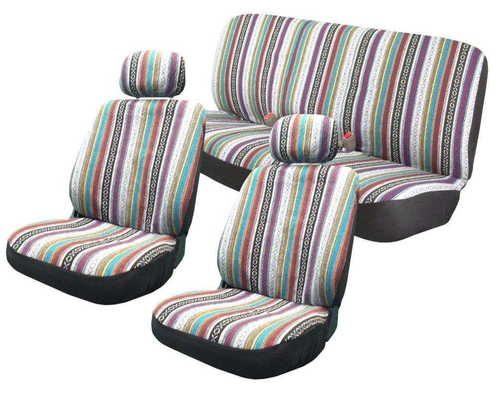 medium resolution of baja inca 8pc saddle blanket seat covers set front pair bench for saab walmart com