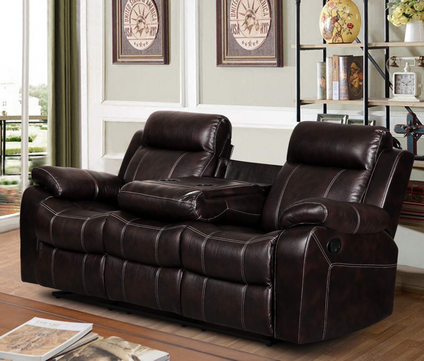 microfiber reclining sofa with drop down table dancevic harrison sofascore sectional couch recliner sofas
