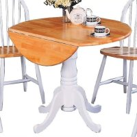 Bowery Hill Round Pedestal Drop Leaf Dining Table in ...