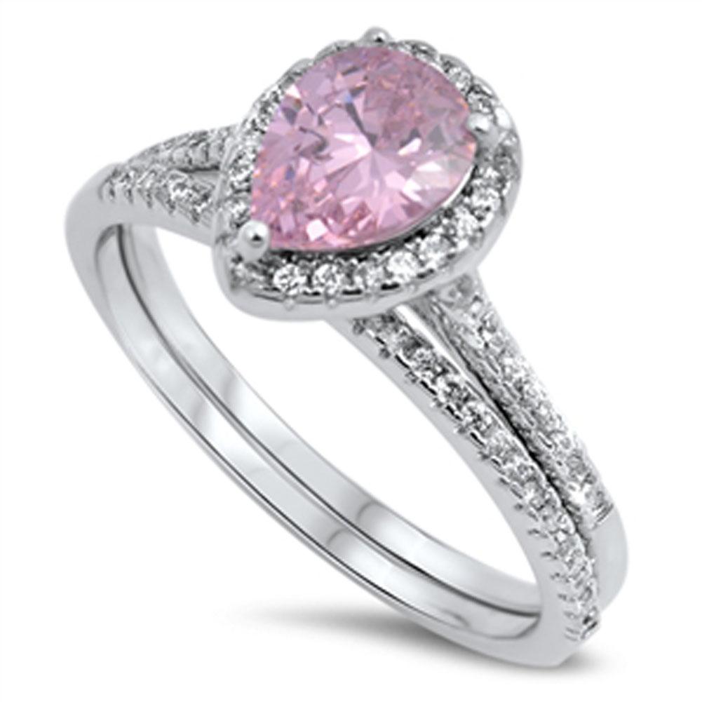 Sac Silver Pink CZ Womens Halo Wedding Ring Sizes 5 6