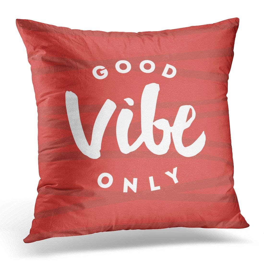 arhome white vibes good vibe only hand lettering with red brush pillow case pillow cover 18x18 inch