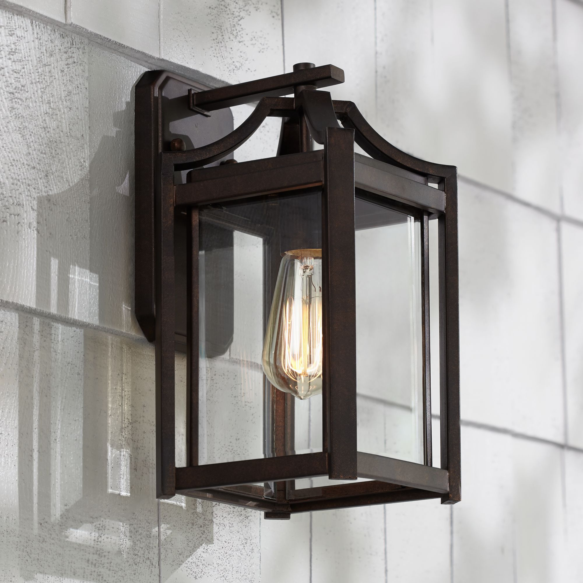 franklin iron works rustic farmhouse outdoor wall light fixture bronze 12 1 2 clear beveled glass panel for exterior house porch