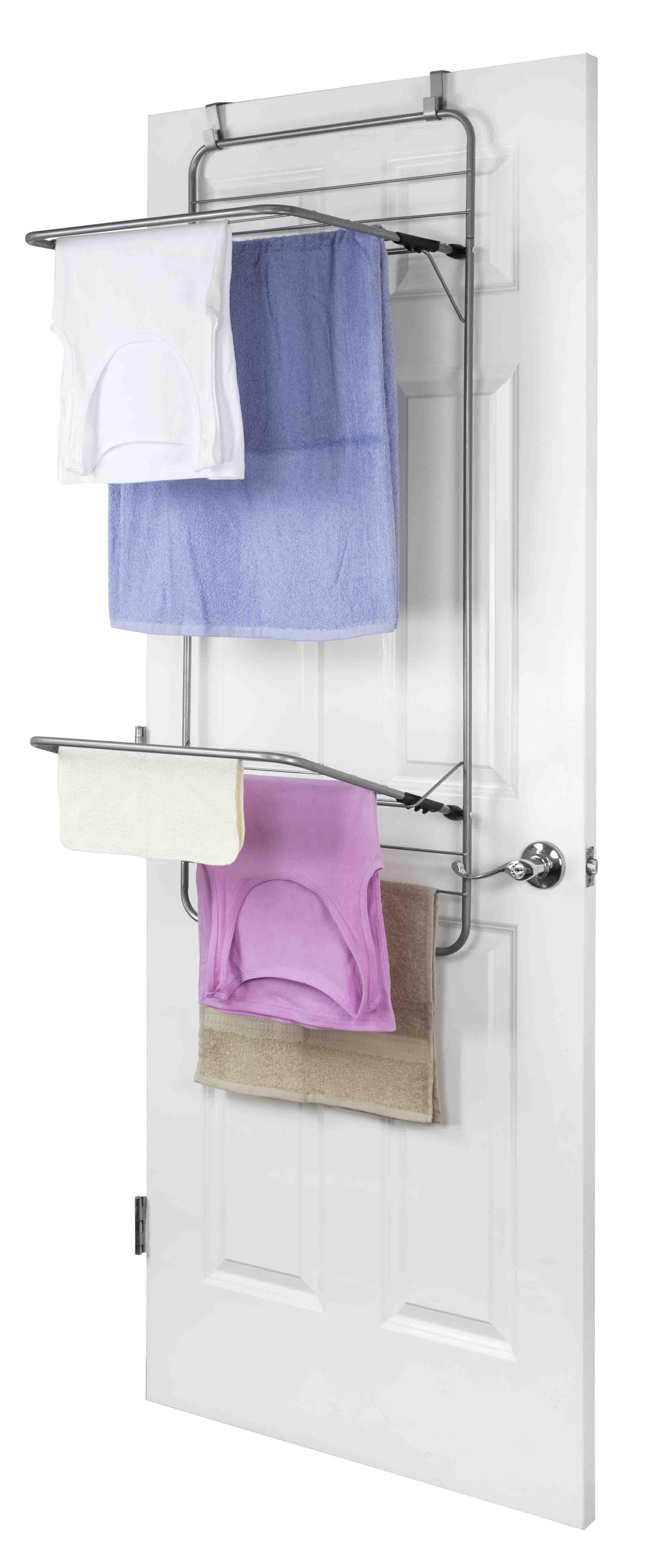 steel over the door towel dryer rack grey