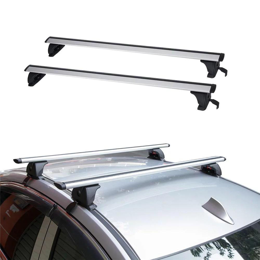beamnova 2pcs pair 49 universal aluminum suv car roof rack cross bars crossbars with anti theft lock luggage cargo basket carrier snowboard bike top