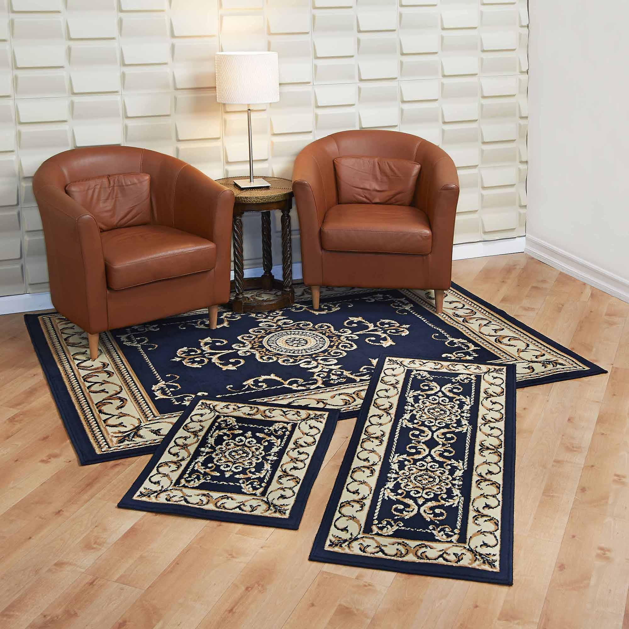 living room rug sets furniture cleveland capri 3 piece set royal crown navy area contains 5 x7 with matching 22 x59 runner and x31 mat walmart com