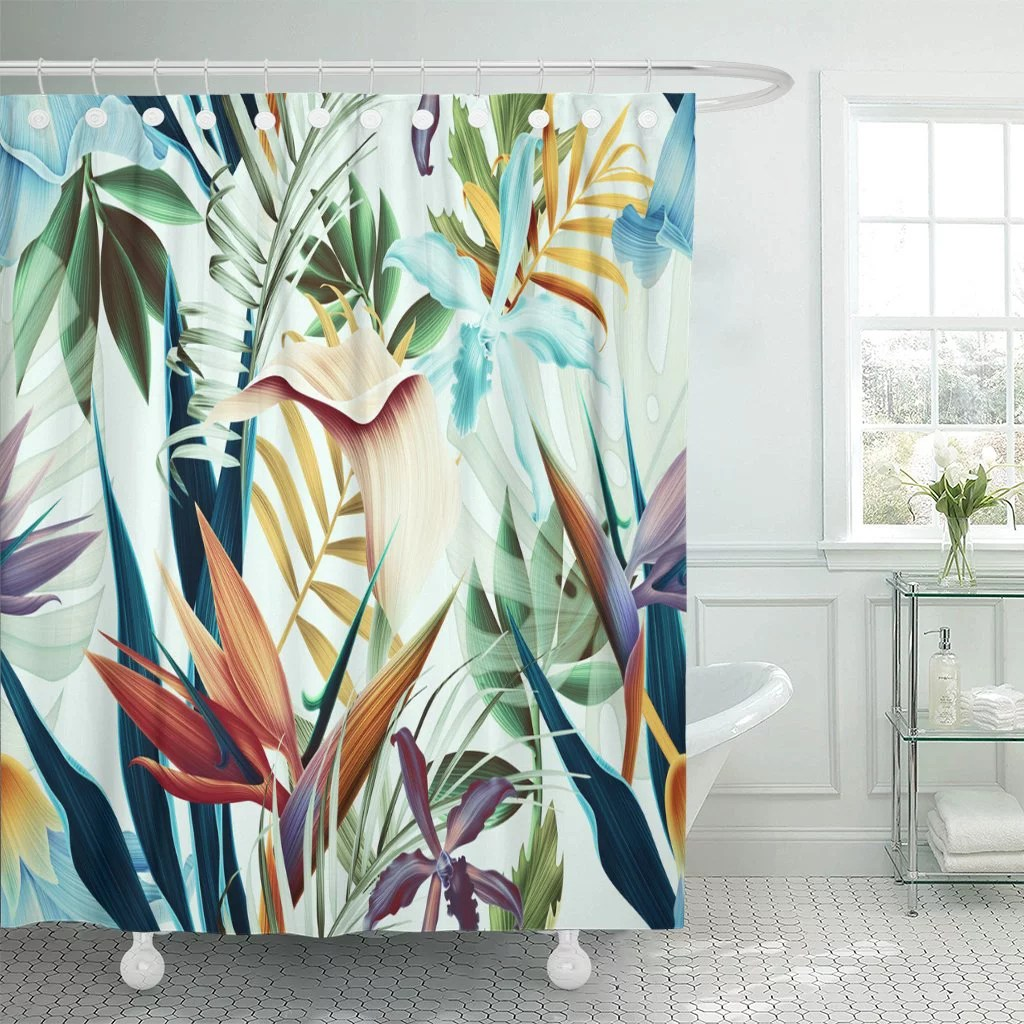 pknmt colorful hawaii tropical flower plant and leaf pattern green shower curtain 60x72 inches
