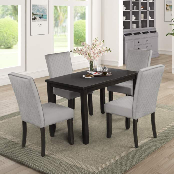 Modern Dining Table Set With 4 Thicken Cushion Chairs 45 2 X 29 5 X 30 3 Rectangular Breakfast Table With Upholstered Elegant Dining Chairs Dining Table And Chairs W Black Finish Legs S462 Walmart Com